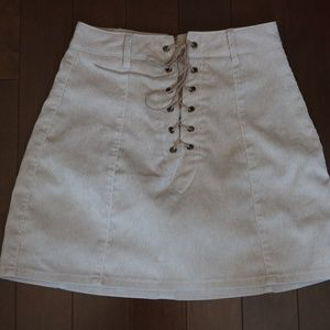 tan curduroy lace-up mini skirt